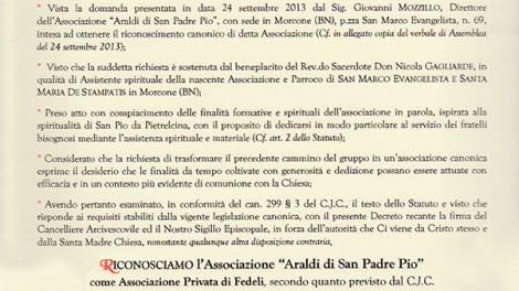 Documento dell'Arcidiocesi di Benevento che attesta il riconoscimento degli Araldi di Padre Pio da parte dell'arcivescovo metropolita S. Ecc. Mons. Andrea Mugione.