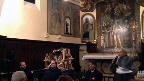 Araldi convegno: Luella De Ciampis con Don Nicola, il direttore Gianni Mozzillo e il priore Gianni Pimpinella