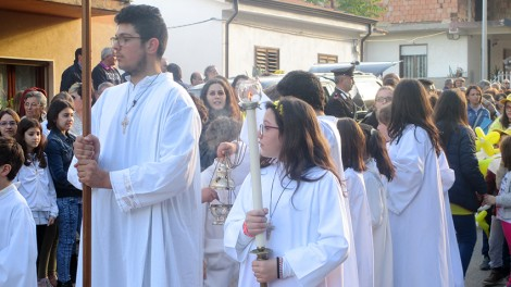 Processione reliquie - Inizio della processione verso la parrocchia