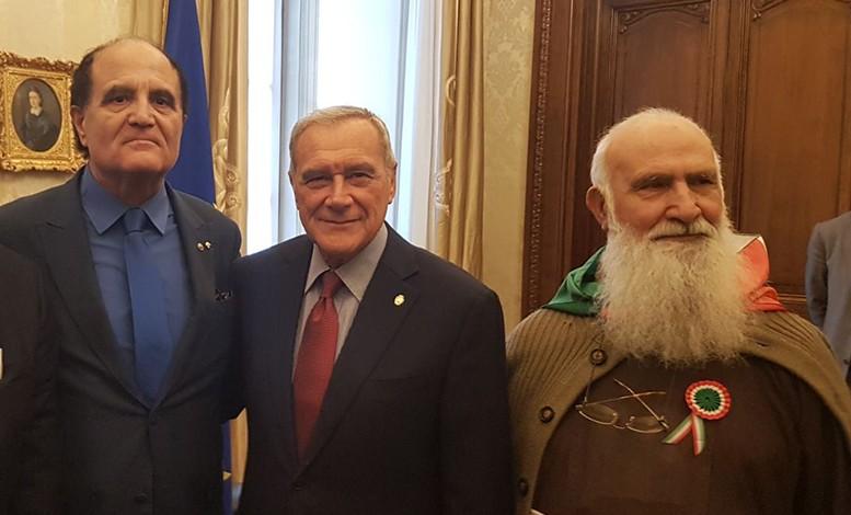Al senato con l'ex presidente Grasso, il direttore Gianni Mozzillo e Padre Riccardo
